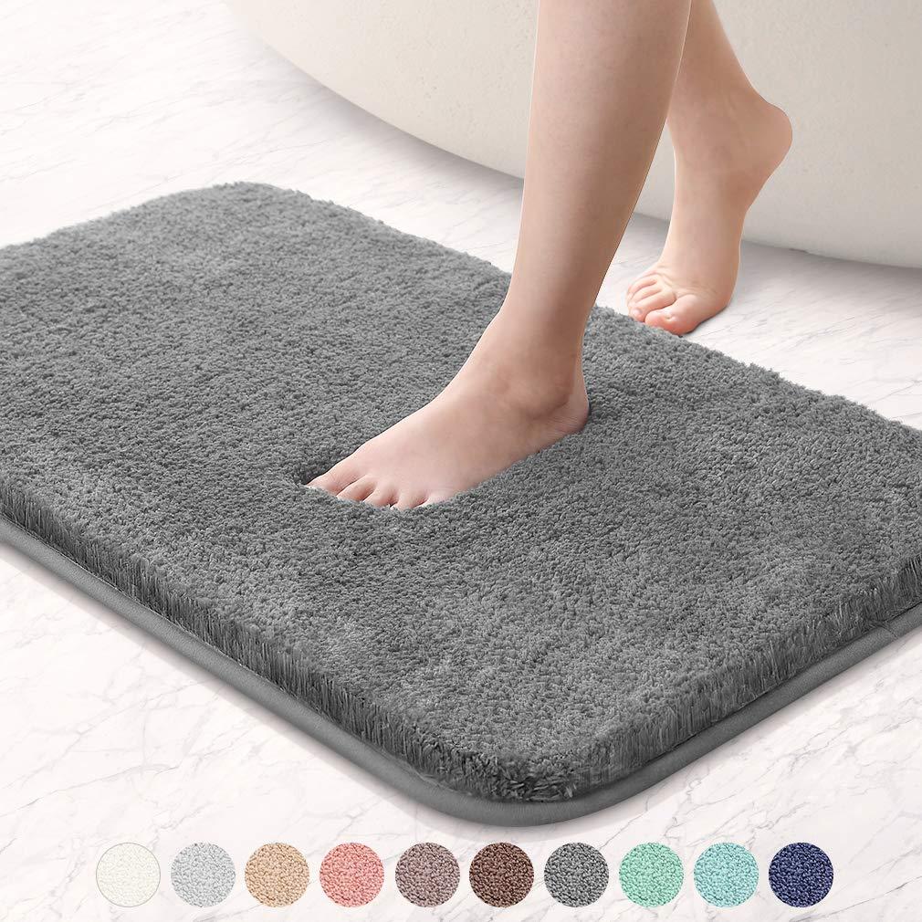 "VANZAVANZU Bathroom Rugs 16""x24"" Ultra Soft Absorbent Non Slip Fluffy Thick Microfiber Cozy Grey Bath Mat for Tub Shower Bathroom Floors Accessories (Dark Gray)"