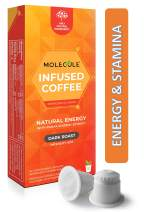Molecule Coffee - Energy and Stamina Coffee Pods Infused with Ginseng - 10 Nespresso Compatible Compostable Pods - for OriginalLine Machines | 100% Arabica Eco-Friendly Capsules | Dark Roast | Espresso Lungo Ristretto