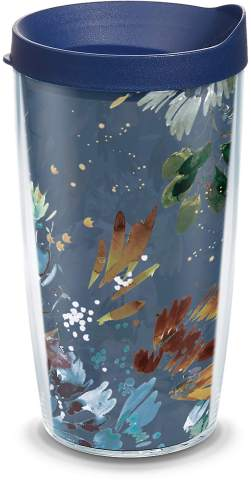 Tervis Kelly Ventura - Midnight Garden Insulated Tumbler with Wrap and Navy Blue Lid, 16oz, Clear