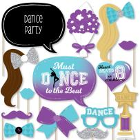 Big Dot of Happiness Must Dance to the Beat - Dance - Birthday Party or Dance Party Photo Booth Props Kit - 20 Count