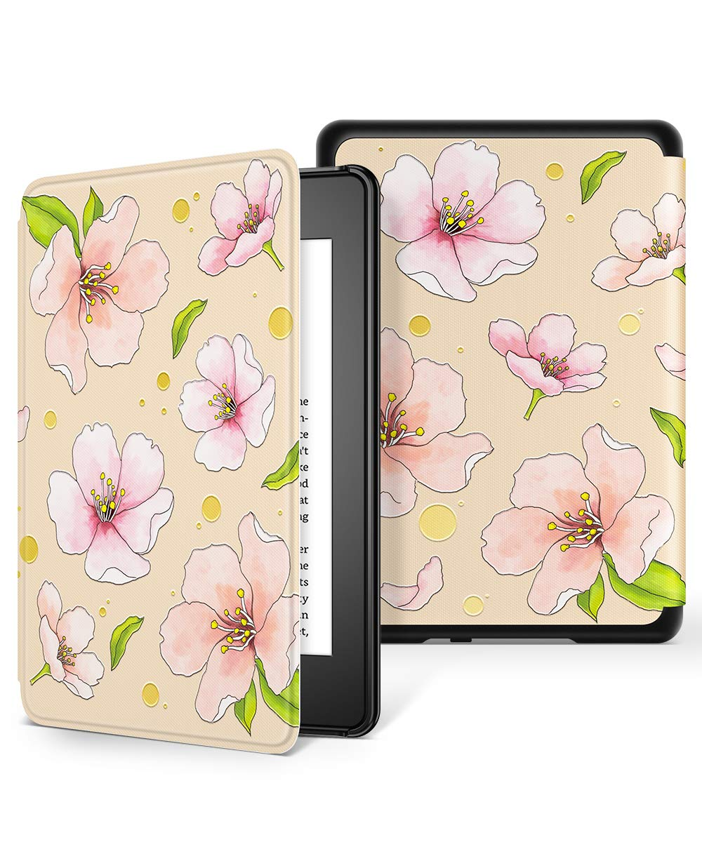 GVIEWIN All-New Kindle Paperwhite 10th Generation 2018 Case, Water-Safe Flowers Pattern Leather PC Hard Shell Auto Wake/Sleep Cover for new Kindle Paperwhite eBook Reader 10 Generation (Cherry/Pink)