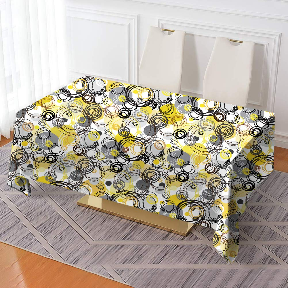 """VVA Rectangular Tablecloth - Hand Drawn Geometrical Rings, Modern Retro Sketch Style - Rectangle Table Cover for Dining Rooms and Kitchens, Indoor and Outdoor Events - 60"""" x 102"""""""