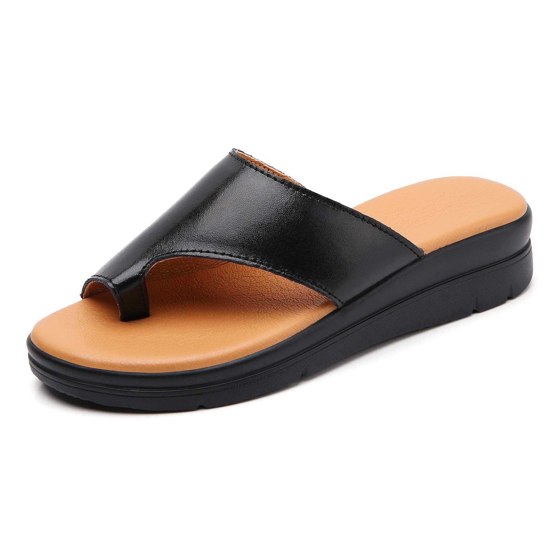 Bunion Sandals for Women Comfy - Bunion Corrector Platform Shoes BSP-2 Genuine Leather Women Flip-Flop Light Weight Ladys Shoes Wedge Sandals Black Gold Brown White