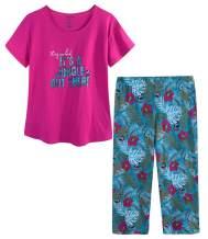 CHUNG Women Cotton Pajama Sets Sleepwear pjs Short Sleeve Shirt Capri Pants with Cute Vivid Print