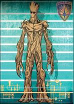 """Ata-Boy Marvel Guardians of The Galaxy Line Up Groot 2.5"""" x 3.5"""" Magnet for Refrigerators and Lockers"""