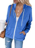 FARYSAYS Women's Casual Zip Up Hoodie Jacket Long Sleeve Lightweight Thin Drawstring Sweatshirt Coat