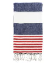 "Swan Comfort 100% Cotton Pestemal Turkish Bath Towel, 39"" x 70"" - Navy - Red"
