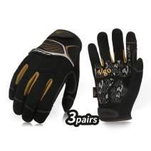 Vgo... 3Pairs High Dexterity Mechanic Glove,Rigger Glove,Anti-Abrasion,Touchscreen(Size XL,Black,SL8851)