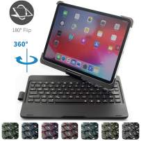 iPad Pro 11 Case with Keyboard and Pencil Holder, 7 Colors Backlit Black Back Plate Chocolate ABS Button Wireless BT 360°Rotatable Keyboard Case Support for iPad Pro 11 inches