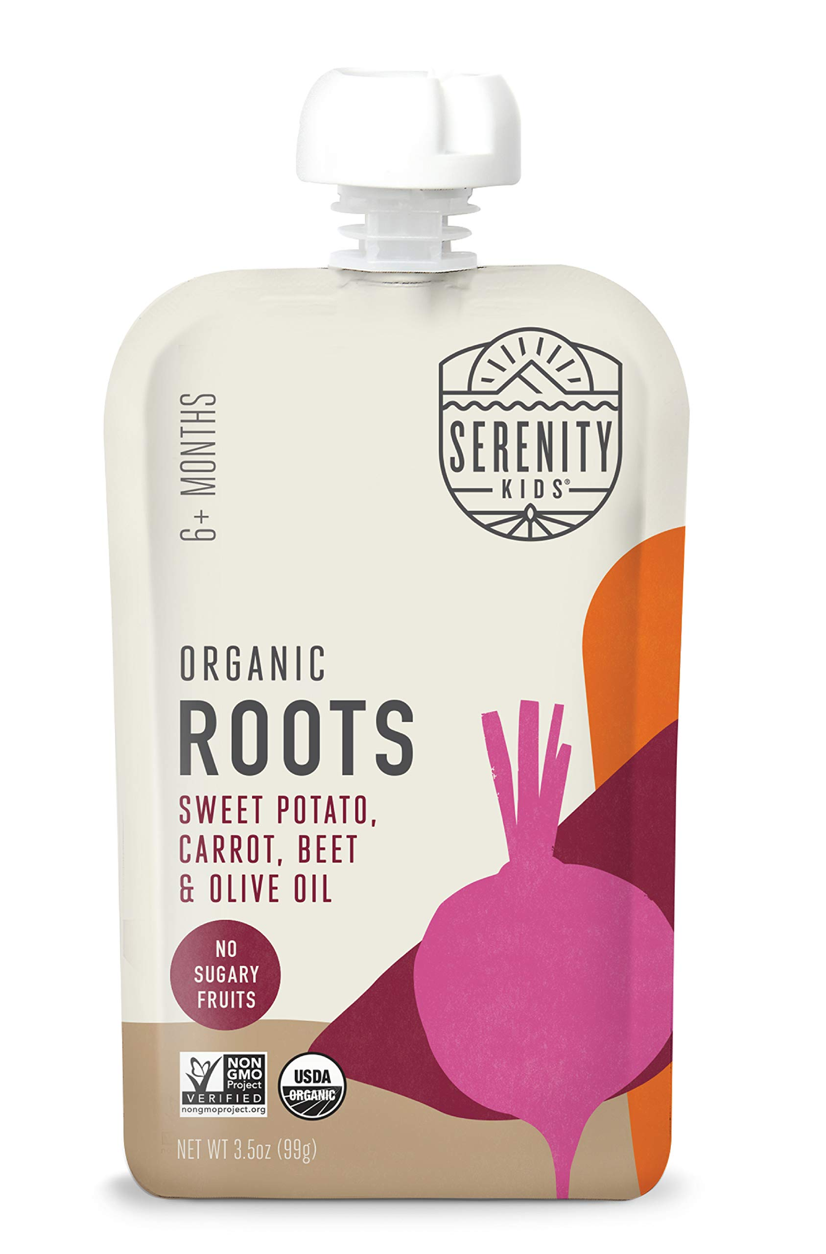 Serenity Kids Baby Food, Organic Sweet Potato, Carrot and Beet with Olive Oil, For 6+ Months, 3.5 Ounce Pouch (12 Count)