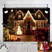 Night Scenery Outdoor House Photography Backdrop Winter Party Vinyl Light Christmas Tree Snowman Gift Sparkle Glitter Photo Background 7x5ft Family Portraits Photo Booths Studio Props Supplies