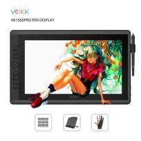 VEIKK VK1560 Pro 15.6 Inch Pen Display Graphics Monitor IPS HD Screen Drawing Monitor with 7 Shortcut Keys and a Quick Dial (92% NTSC,8192 Level Pressure,2 Battery Free Pen)