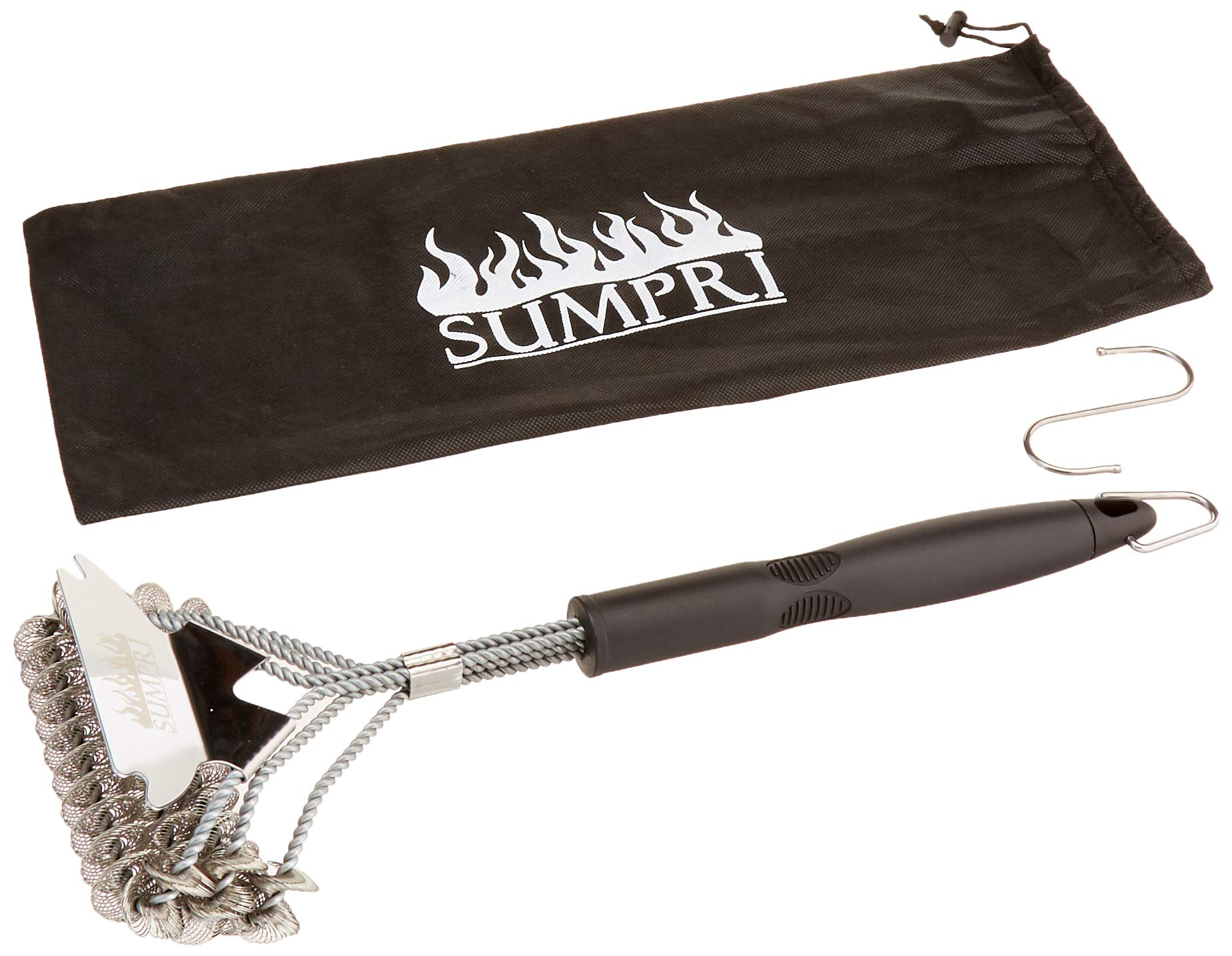SUMPRI Grill Brush and Scraper -Best Bristle Free Safe BBQ Grate Cleaner -Barbecue Cleaner for Porcelain, Ceramic, Iron, Gas/Charcoal Grill -18 Inch Stainless Steel, Bq Bristles Cleaning Brush (Flat)