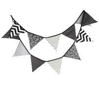 DrCor 10.5 Feet Double Sided Black and White Cotton Fabric Triangle Pennant Flag Bunting Banner 12 Flags For Nursery Kids Room Teens Bedroom Teepee Baby Shower Birthday Decor, Pack of 1