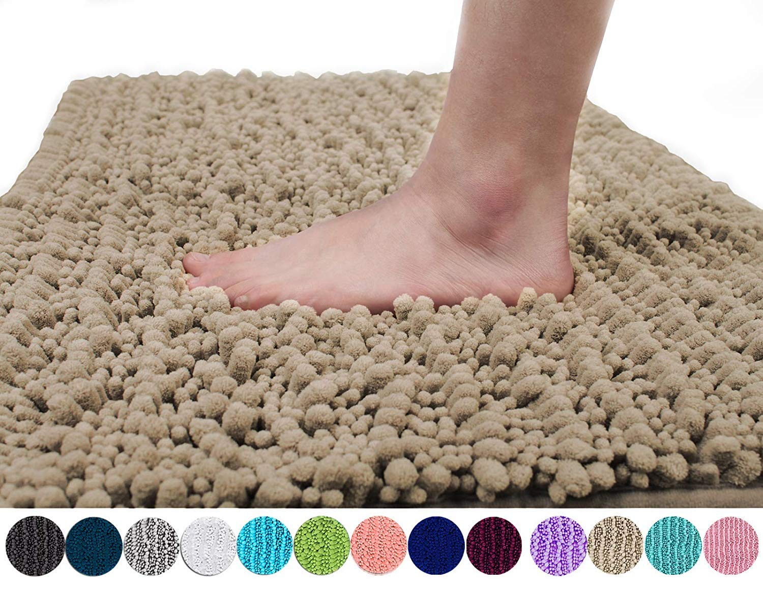 Yimobra Original Luxury Shaggy Bath Mat, Soft and Cozy, Super Absorbent Water, Non-Slip, Machine-Washable, Thick Modern for Bathroom Bedroom (24 x 17 Inch, Camel)