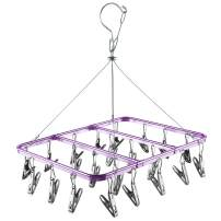 BOJLY Drying Hanger,Hanging Drying Rack Drip Hanger with 22 Clips, Folding Clothes Hanger for Drying Clothes Socks Towels Lingerie Underwear Purple