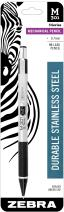 Zebra M-301 Stainless Steel Mechanical Pencil, 0.7mm Point Size, Standard HB Lead, Black Grip, 1-Count
