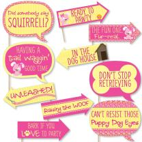 Funny Girl Puppy Dog - Baby Shower or Birthday Party Photo Booth Props Kit - 10 Piece