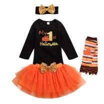 My First Halloween Newborn Baby Girl Outfits Romper Top + Tutu Skirt + Headband + Leg Warmers 4Pcs Clothes Set