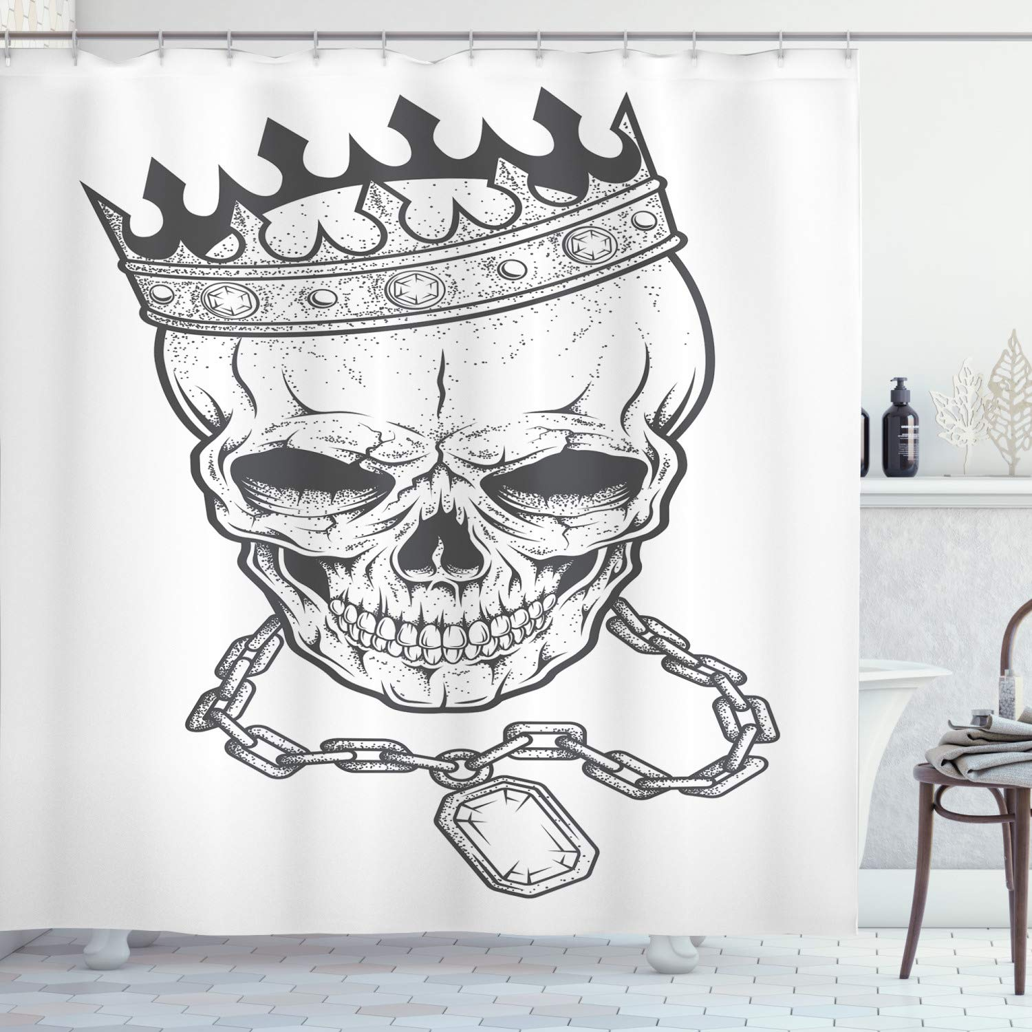 """Ambesonne King Shower Curtain, Sketchy Skull with Crown Hip Hop Street Style Necklace Chain Gem Image Print, Cloth Fabric Bathroom Decor Set with Hooks, 84"""" Long Extra, Grey Print"""