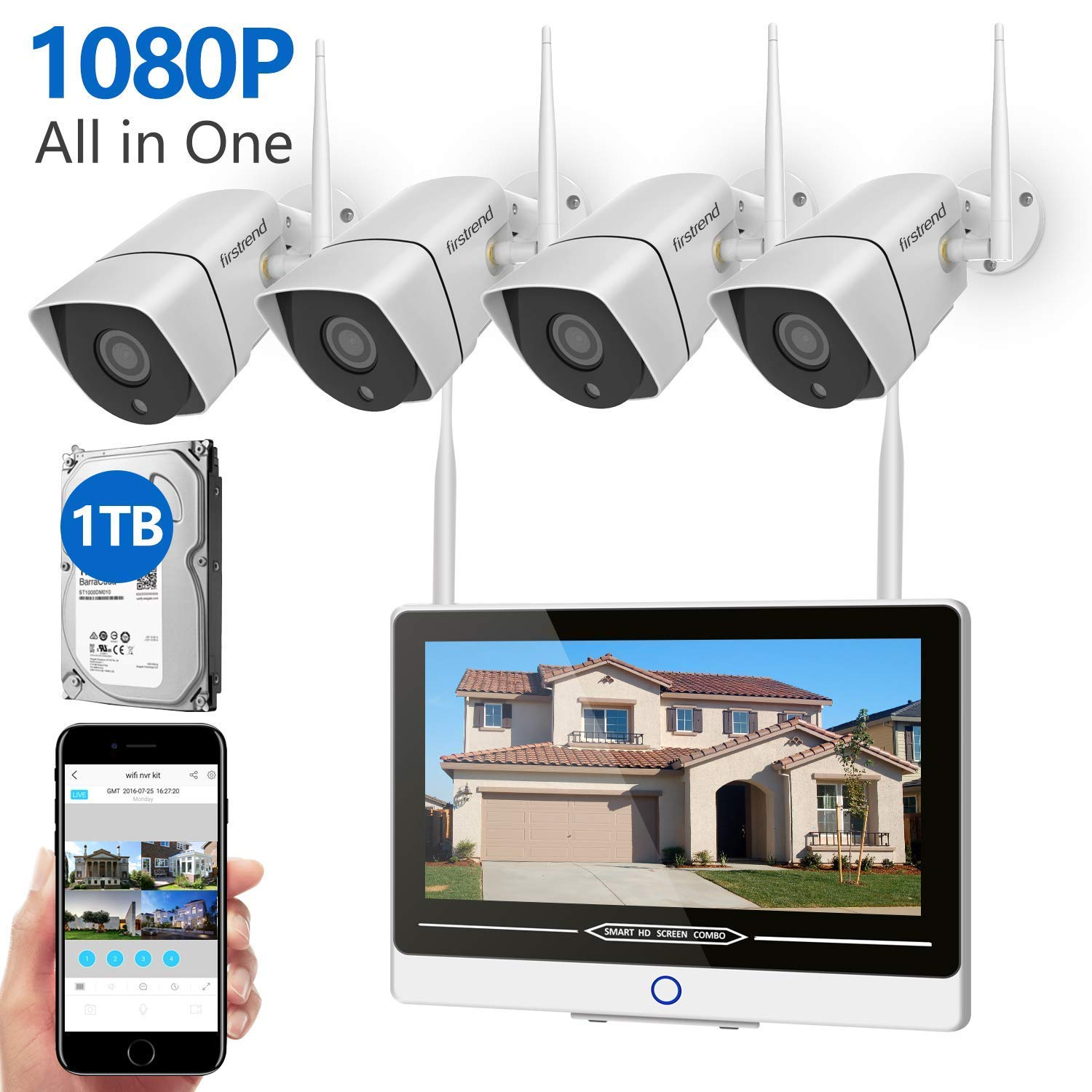 Security Camera System Wireless with Monitor,Firstrend 1080P 8CH Wireless Security System Outdoor Indoor with 4PCS 1080P WiFi IP Security Cameras 12 Inch Monitor and 1TB Hard Drive Installed