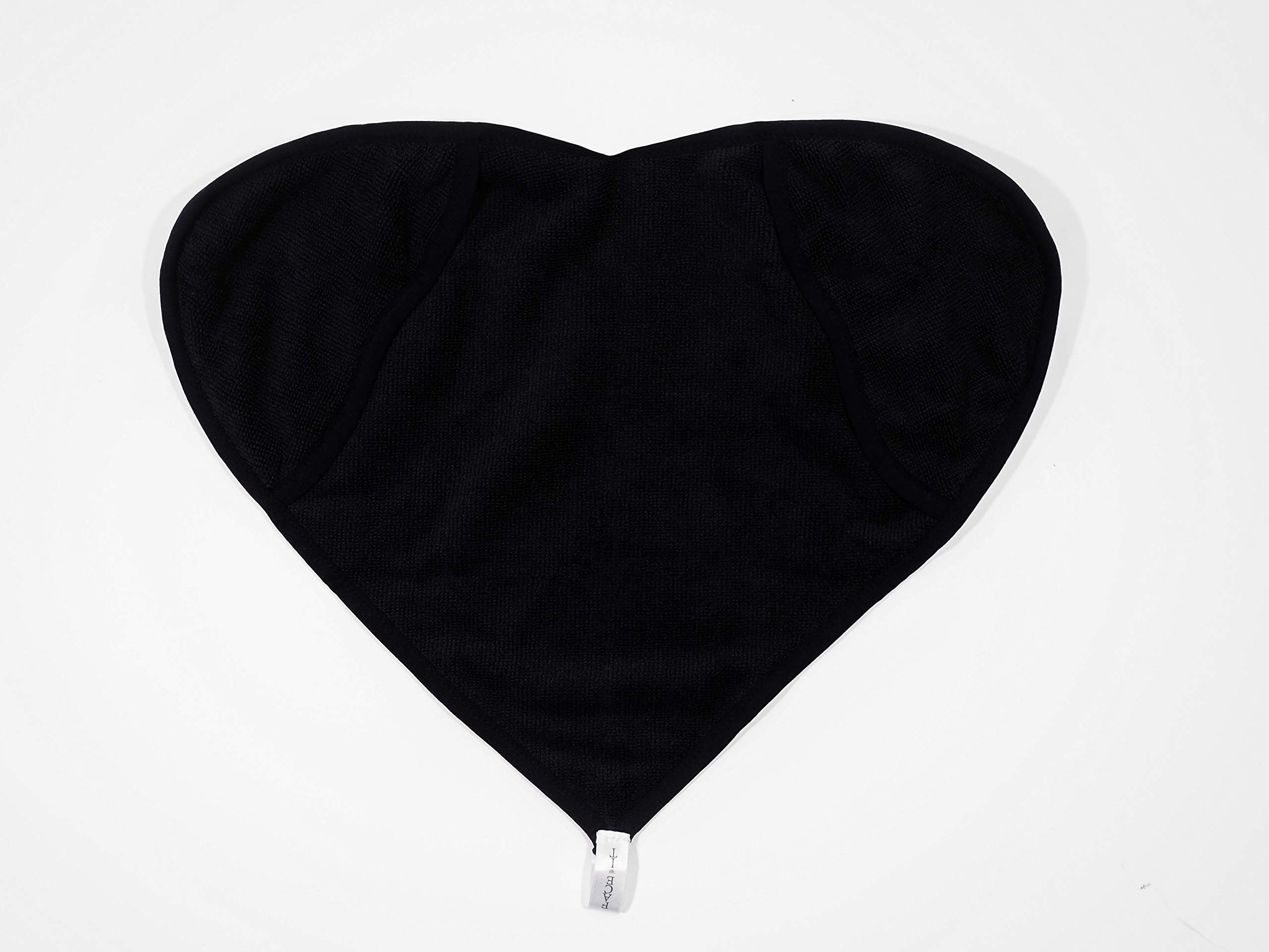 Black Cloth in a Box - Ultra Soft, Microfiber, Exfoliating, Heart Shaped Facecloth/Washcloth with Hand Pockets to Remove Makeup, Clean Pores and Wipe your Face Clean