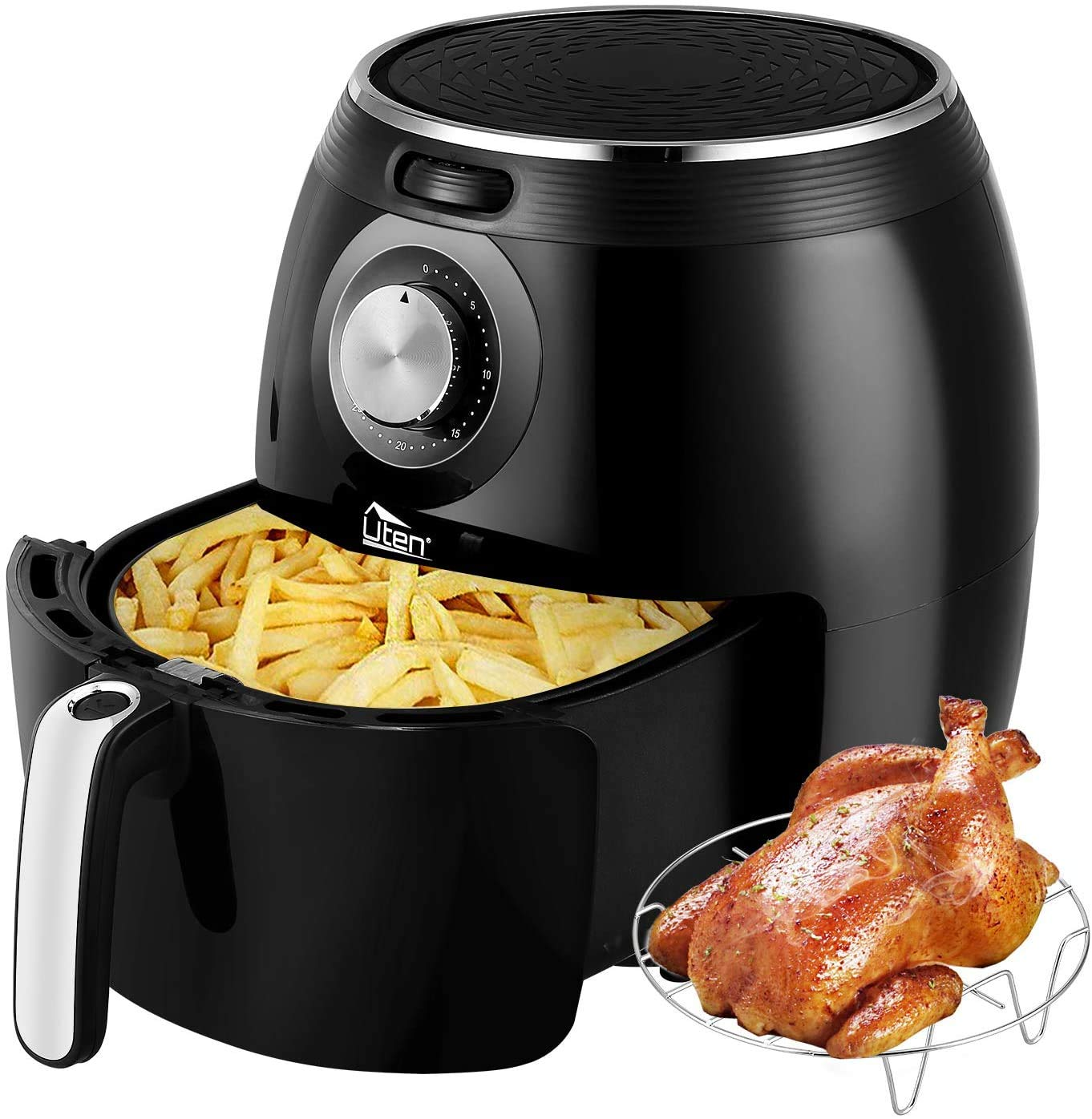 Uten Air Fryer XL, 5.8QT 1700W Electric Hot Air Fryer with Temperature Control & Timer Knob, Fast Oven Oilless Cooker with Grill Rack , Non Stick Fry Basket, Dishwasher Safe, UL Listed - Black