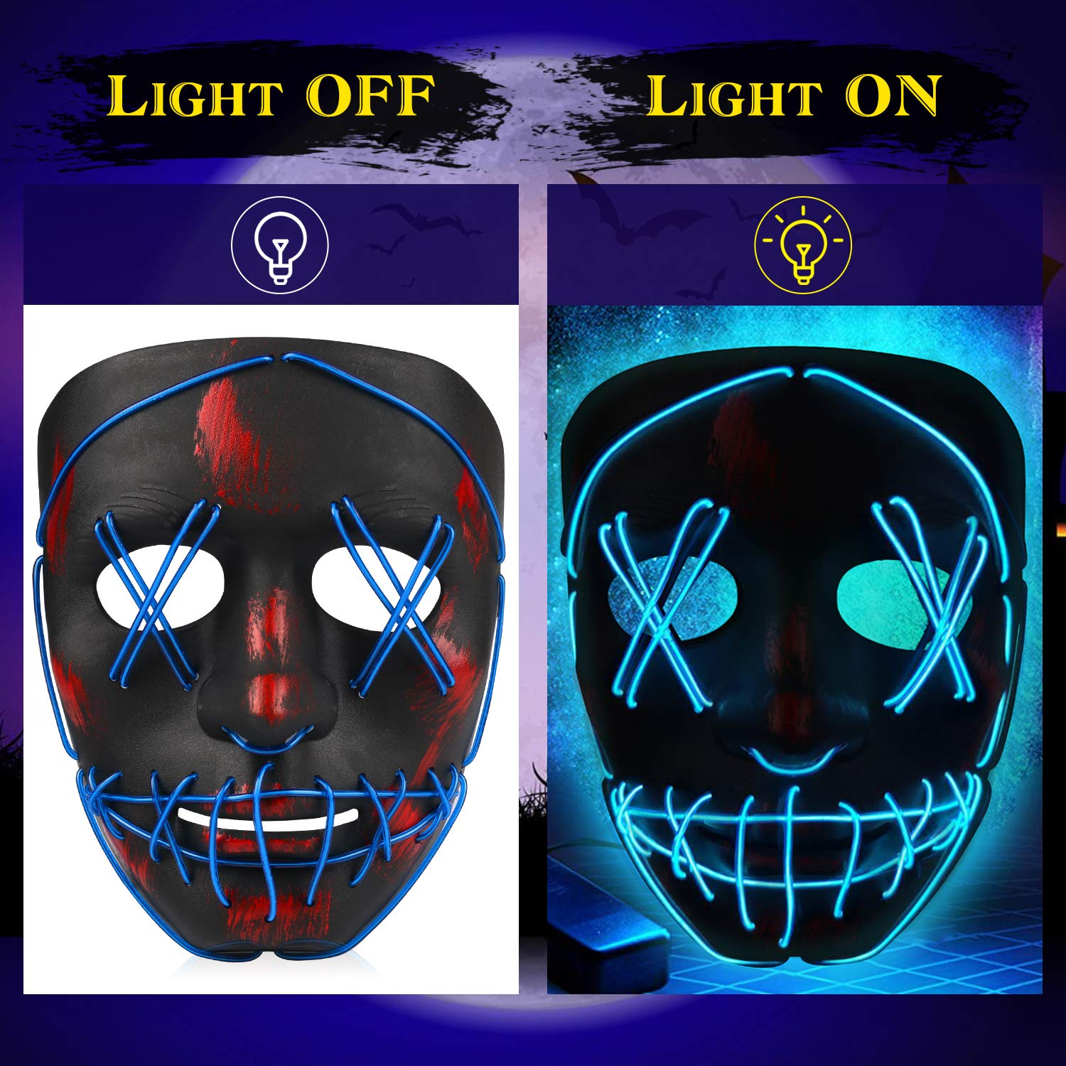 Henscoqi Halloween LED Mask, LED Purge Mask, Neon Mask EL Wire Cool Light Up Creepy Skeleton Mask for Kids Cosplay Costume Parties (LED Blue)