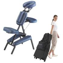 Master Massage Portable Massage Chair, Massage Therapy Chair with Wheeled Carrying Case, Adjustable Lightweight Folding Massage Chair, Tattoo Chair Spa Chair, with PU Leather -Royal Bule