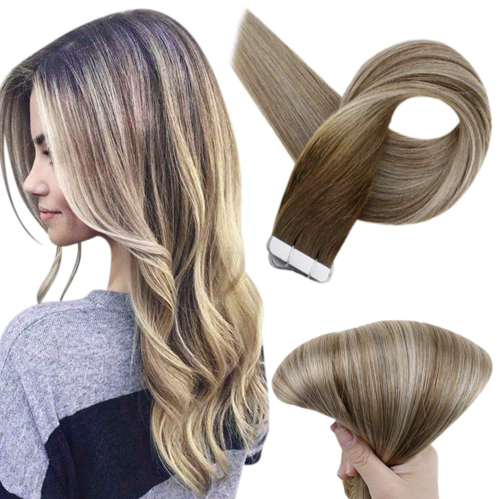 Full Shine Tape In Extensions 100 Percent Remy Human Hair 18 Inch Glue On Hair Extensions Dark Brown Color 3 Fading To 8 And 22 Blonde Highlighted Hair Extensions 20 Pcs 50 Grams