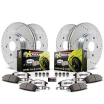 Power Stop K2554-26 Front and Rear Z26 Carbon Fiber Brake Pads with Drilled & Slotted Brake Rotors Kit