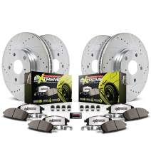 Power Stop K2060-26 Front and Rear Z26 Carbon Fiber Brake Pads with Drilled & Slotted Brake Rotors Kit