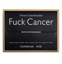 Fuck Cancer Morse Code Bracelet Handmade Bead Adjustable String Bracelets Inspirational Jewelry for Women