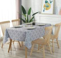 AooHome Rectangular 60x84 inch Tablecloth, Polyester Spill-Proof Water Repellent Stain Resistant Table Cover Pretty Décor for Outdoor Dinning Tabletop, Machine Washable, Heavy Duty, Light Grey
