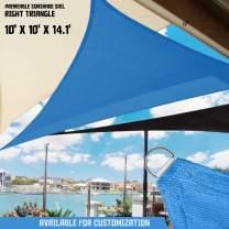 TANG Sunshades Depot 10x10x14' FT 180 GSM Blue Sun Shade Sail Canopy Rectangle Sand UV Block Sunshade for Backyard Yard Deck Dock Patio Pergola Garden Lawn Outdoor Facility and Activities