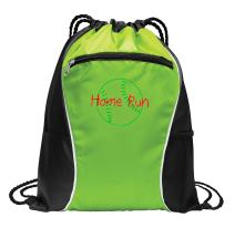 Personalized Softball Bag for Womens | Baseball Cinch Bag with Customizable Embroidered Monogram for Sports, Travel (Lime)