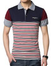 sandbank Men's Polo Shirt Striped Contrast Color Long Sleeve Cotton T Shirt Top