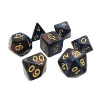 Dual Marbled 7 Piece Polyhedral DND Dice Set by D20 Collective Dice for Table Top Dungeons and Dragons RPGs and Gaming