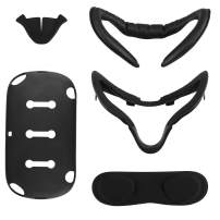 [Newer Version]Esimen VR Facial Interface Bracket & PU Leather Foam Face Cover Pad Replacement & Protective Lens Cover & Skins &Anti-Leakage Nose Pad Custom Set for Oculus Quest Accessories, 5-Piece
