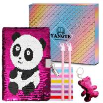 Sequin Journal Girls Secret Diary with Lock, Pink Lockable Notebook and Pens Writing Stationery Set with Sequin Keychain Gift for Girls Kids Birthday Christmas Present - Panda
