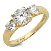 1.50 ct Brilliant Round Cut Solitaire three stone Highest Quality Moissanite Ideal VVS1 D & Simulated Diamond Engagement Promise Statement Anniversary Bridal Wedding Ring Real Solid 14k Yellow Gold