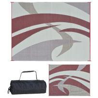 Reversible Mats 159125 Outdoor Patio / RV Camping Mat - Swirl (Burgundy, 9-Feet x 12-Feet