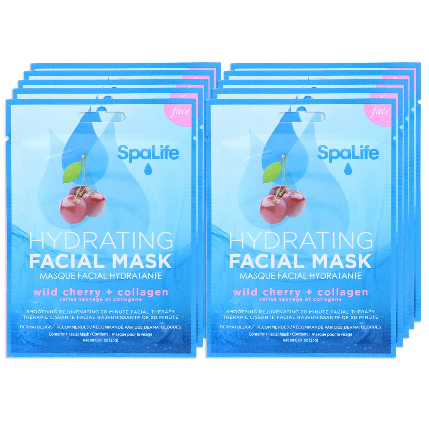 SpaLife Hydrating, Purifying, Anti-Aging, Detoxifying and Soothing Korean Facial Masks - 10 Masks (Wild Cherry + Collagen)
