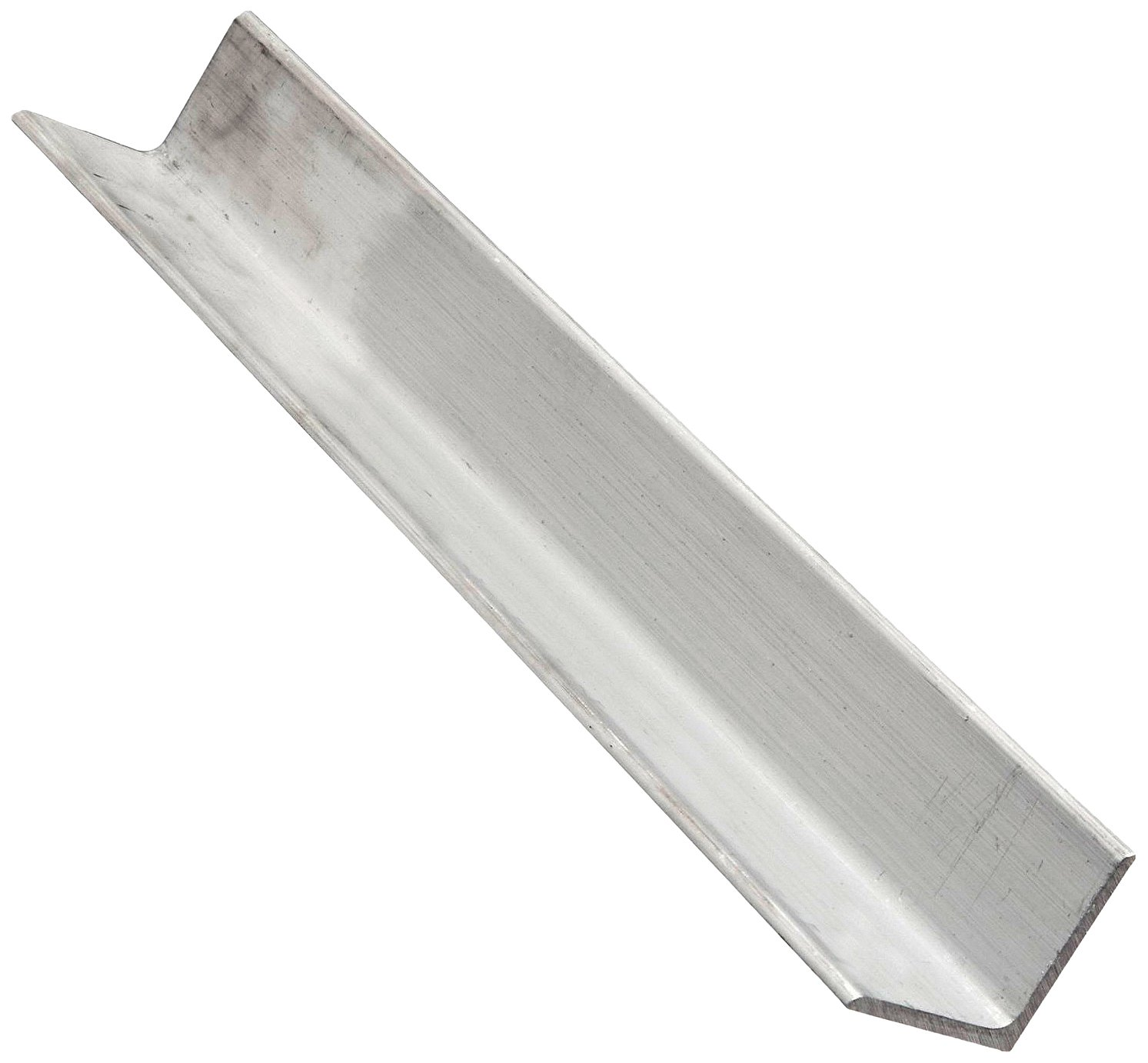 "6061 Aluminum Angle, Unpolished (Mill) Finish, Extruded, T6 Temper, Equal Leg Length, Rounded Corners, 1-1/2"" Leg Lengths, 1/8"" Wall Thickness, 24"" Length"