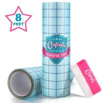 Craftopia Clear Vinyl Transfer Tape with Grid for Adhesive Vinyl Medium Tack | 12 Inch x 8 Foot Vynil Transfer Paper Roll | Compatible with Oracal 651 Vinyl, Cricut Vinyl and Cricket Maker Machine