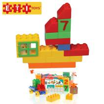 ETI Toys, 63 Piece Bublu Counting Blox. Build Car, Toll Booth, House, Ship, Endless Designs. 100 Percent Safe, Fun, Creative Skills Development. Gift, Toy for 3, 4, 5 Year Old Boys and Girls.