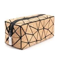 Tikea Geometric Handbag Natural Cork Fashion Women Cosmetic Bag Makeup Pouch