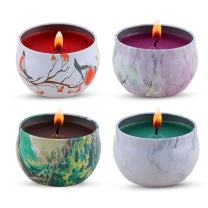 KitchenGynti Scented Candles Gift Set - Lavender, Rose, Tea Tree and Peppermint, Candle Soy Wax for Stress Relief and Aromatherapy, Candles - 4 Pack