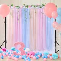 Champagne Blue Pink Tulle Backdrop Curtain Photography Background for Wedding Bridal Shower Birthday Party Supplies, 5ft x 7ft