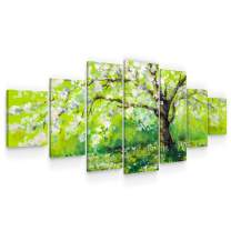 STARTONIGHT Large Canvas Wall Art Trees - Tree Blooming in Spring - Huge Framed Modern Set of 7 Panels 40 x 95 Inches